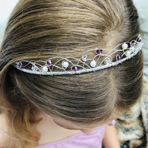 Crystal and pearl wedding tiara